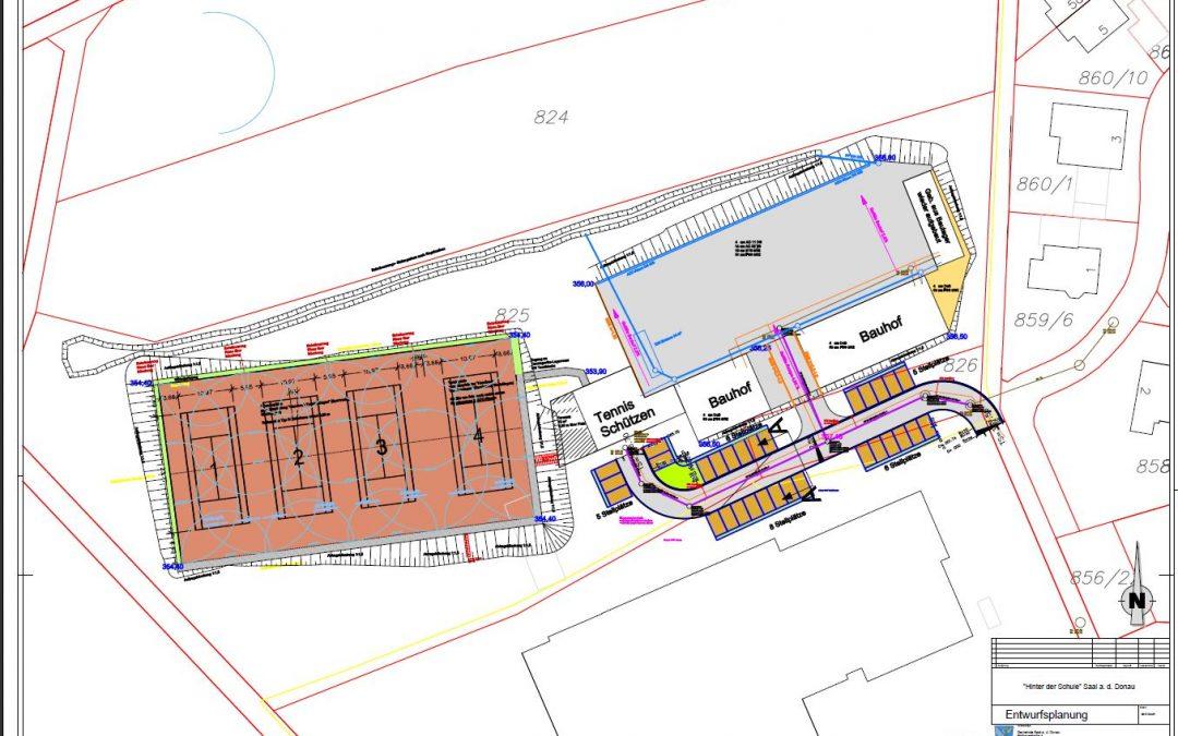 Neubau einer Tennisanlage mit 4 Tennisplätzen und eines kommunalen Bauhofes